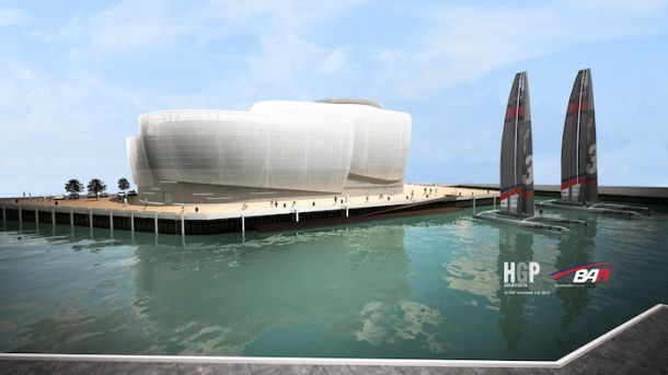 An artists impression of the proposed Portsmouth base for Sir Ben Ainslie's America's Cup team.