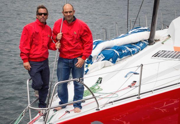 Iker Martinez and Xabi Fernandez on the bow of the new Volvo Ocean 65. Photo Maria Muina/Sailing Shots.