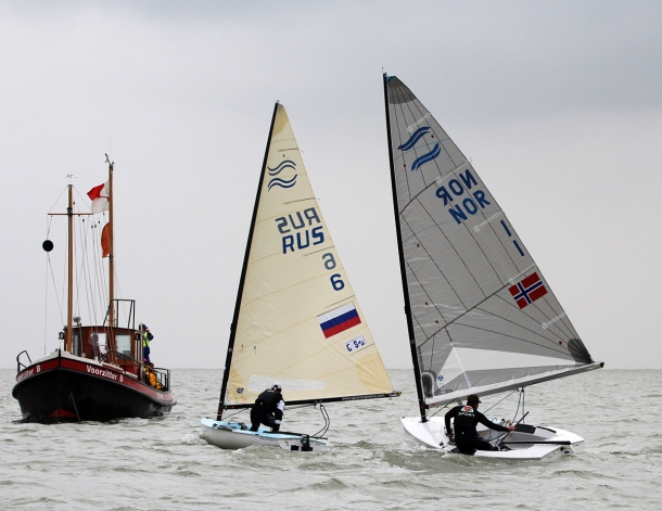 Anders Pedersen (NOR) and Arkadiy Kistanov (RUS) battle it out at the Finn Silver Cup. Photo Silver Cup Media.