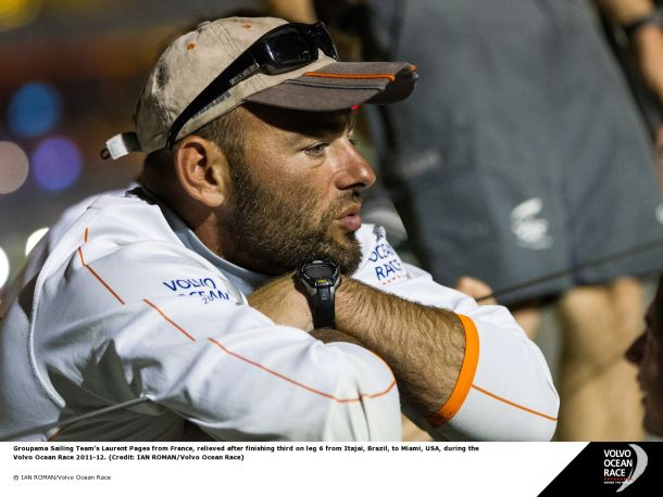 Laurent Pages sailing for Brunel in 2014 Volvo. Image courtesy Ian Roman/Volvo Ocean Race.