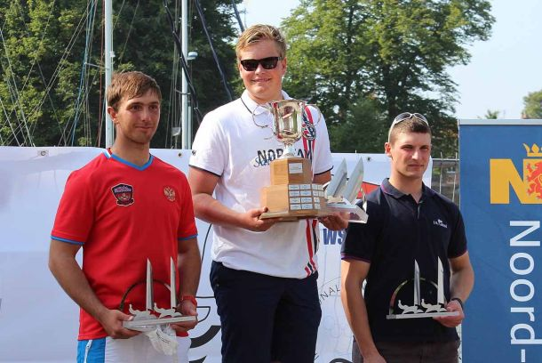 Anders Pedersen on the top step of the podium after the Finn Silver Cup. Photo Robert Deaves.