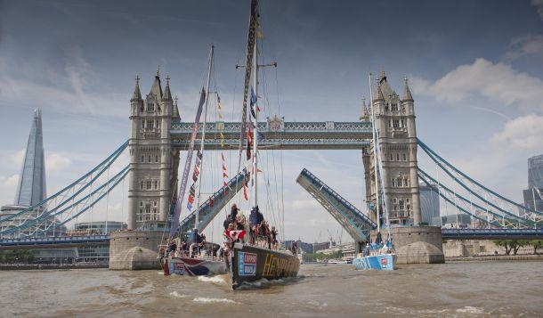 Henri Lloyd leads Clipper Race teams by Tower Bridge. Photo Clipper Ventures.