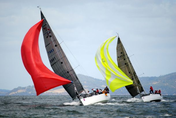 Mumm 36 Madness won DIvision 1 of today's race three of Bellerive Yacht Club Winter Series on the River Derwent. Photo Peter Campbell