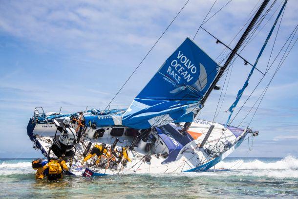 Team Vestas Wind on the reef. Photo Brian Carlin/Team Vestas Wind/Volvo Ocean Race