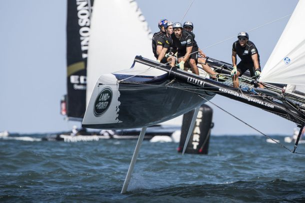 Red Bull Sailing Team during the penultimate day of racing where they took three race wins. Photo Lloyd Images.
