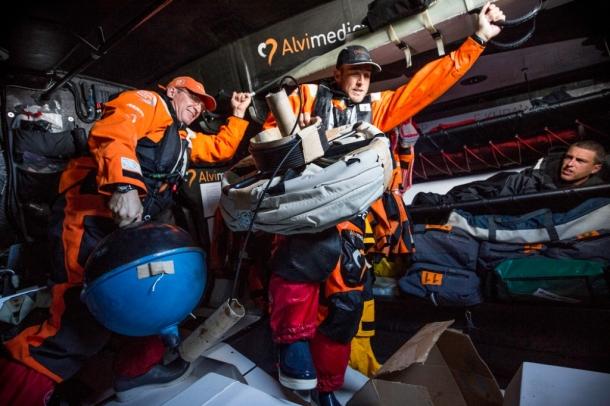 Team Alvimedica prepares to deploy their drifter. Photo Amory Ross / Team Alvimedica / Volvo Ocean Race.