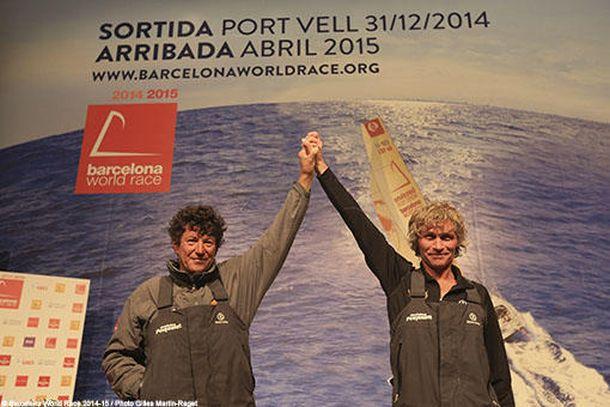 Bernard Stam and Jean Le Cam. Photo Gilles Martin-Raget/Barcelona World Race.