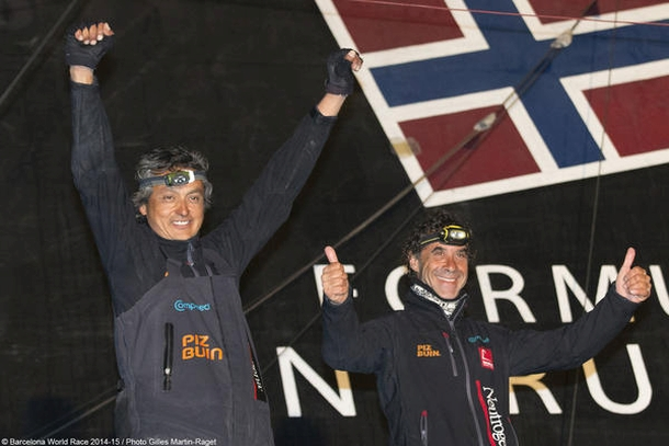 Altadill and Muñoz finish second in the Barcelona World Race. Photo Gilles Martin-Raget/BWR.