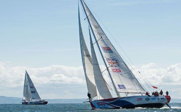 Clipper boats beat to windward
