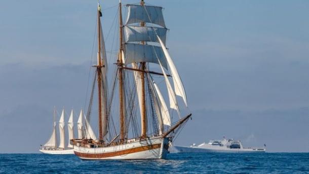 Vega Gamleby (Sweden) crossing the start line for the first leg of The Tall Ships Races 2014. Photo Valery Vasilevskiy.