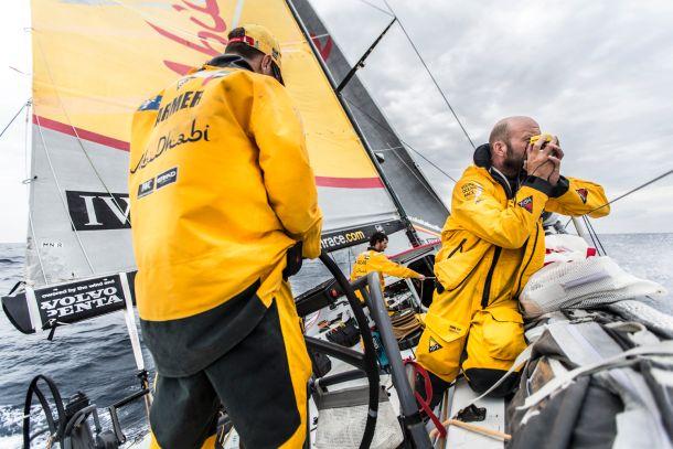 Keeping an eye on the enemy. Photo Matt Knighton / Abu Dhabi Ocean Racing / Volvo Ocean Race.
