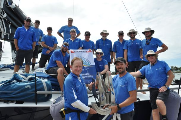 Black Jack collect Line Honours trophy. Photo Jordana Statham.