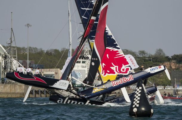 Crash between Red Bull and Alinghi in Qingdao. Photo © Xaume Olleros For Red Bull Content Pool.