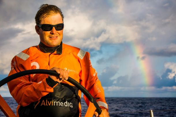 Charlie Enright at the helm of Alvimedica. Photo Amory Ross / Team Alvimedica / Volvo Ocean Race.