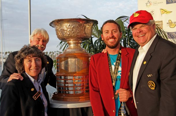 Taylor Canfield posing alongside the Congressional Cup. Photo © Photo BOB GRIESER