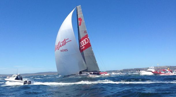 Wild Oats XI surrounded by media and spectator boats as she sails up the Derwent. Photo Kimberley Wilmot.