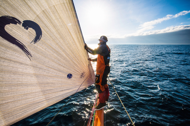 On the bow of Alvimedica during the Volvo Ocean Race. Photo Amory Ross / Team Alvimedica / Volvo Ocean Race.