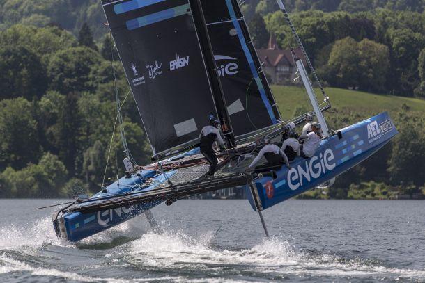 Team ENGIE performs some cat foiling acrobatics. Photo ©: Guilain Grenier/Bullitt GC32 Racing Tour.