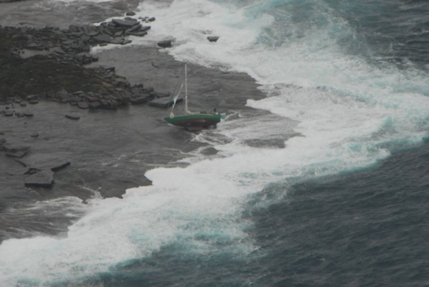 AMSA coordinated the rescue of a solo yachtsman from rocks off the West Australian coast today. Photo AMSA.