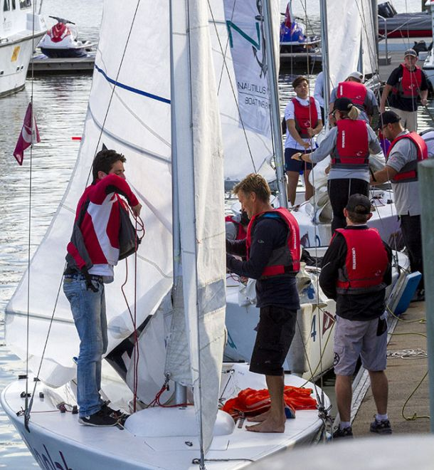 The Etchells Australasian Championship teams getting ready for the afternoon Rum Runner Challenge to raise funds for the youth keelboat Sunshine Coast Sailing Team. Credit Teri Dodds.