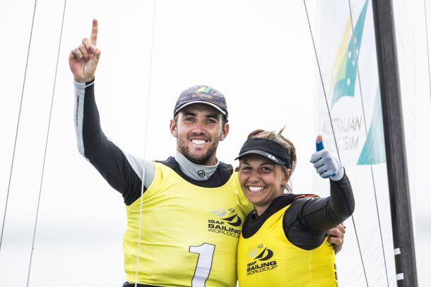 Jason Waterhouse and Lisa Darmanin celebrate their win at Sail for Gold. Photo Pedro Martinez.