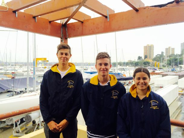 Harry Price (middle) will skipper the CYCA team with Angus Williams and Tara Blanc-Ramos. Photo CYCA.