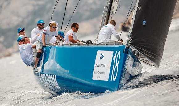 Bronenosec took a race win and the overall lead. Photo © Martinez Studio / RC44 Class Association.