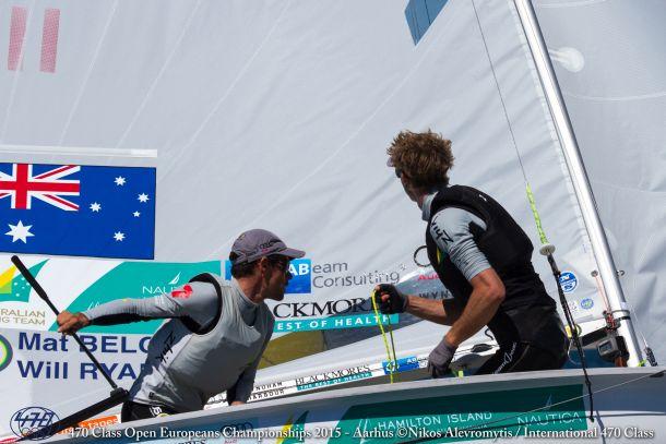 Mat Belcher and Will Ryan at the 470 Europeans. Photo Nikos Alevromytis/International 470 Class.