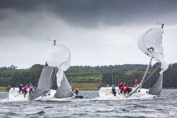 Sanna Häger (SWE) chasing Klaartje Zuiderbaan (NED). Photo: Mick Anderson/Match Racing Denmark.