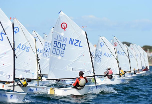Optimists at the ISAF Sailing World Cup Melbourne. Photo Jeff Crow/Sport the Library.