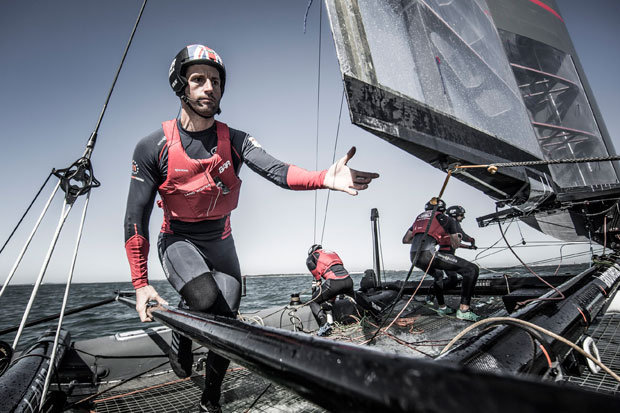 Ainslie in action with Land Rover BAR. Photo Lloyd Images.