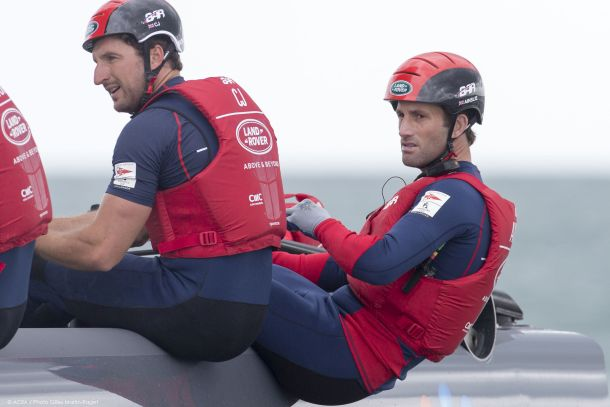 Sir Ben Ainslie (right) with Giles Scott on the BAR AC45 at Portsmouth. Photo © ACEA 2015/Gilles Martin-Raget.