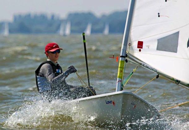 West Australian sailor Zac Littlewood had an excellent day overnight at the Laser 4.7 youth worlds. Photo from event media.