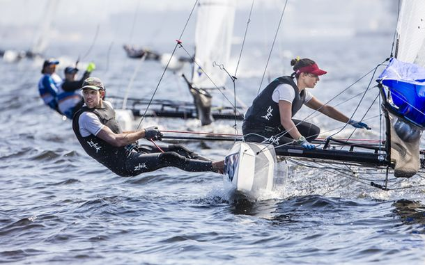 Waterhouse and Darmanin on the Rio course. Photo Jesus Renedo/Sailing Edge/ISAF.