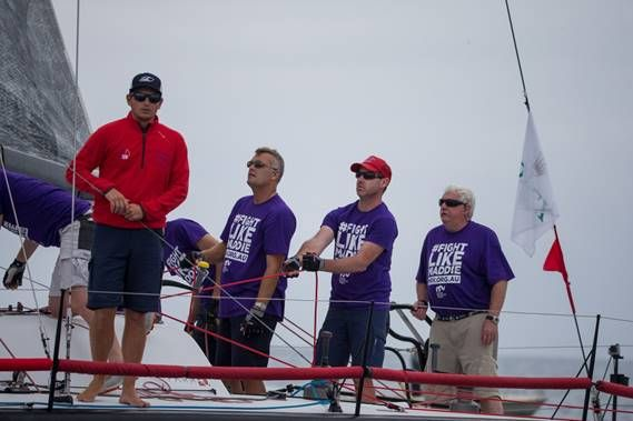 Lloyd Clark (far right) on Voodoo Chile is sailing to raise awareness of Bone Marrow Failure Syndrome #FightLikeMaddie. Photo credit: Rolex/Sharon Green.
