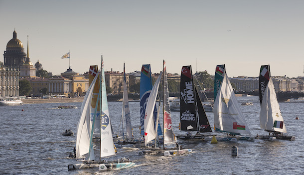GAC Pindar lead the Extreme 40 feet downwind in the last race of the day in Saint Petersburg. Photo Lloyd Images