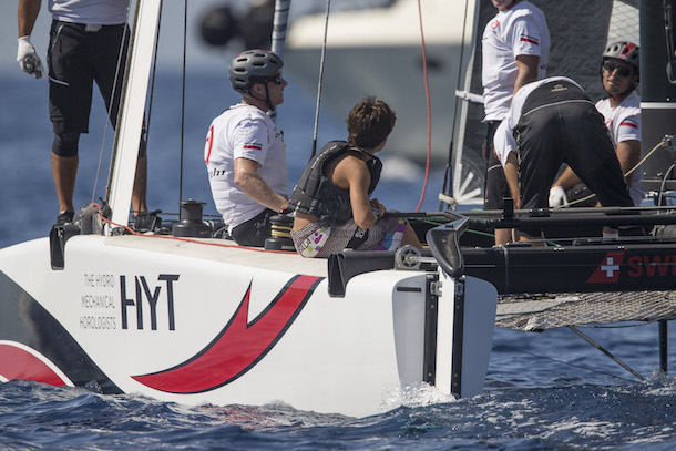 Optimist sailors got to sail on Alinghi today. Photo Guilain Grenier / Bullitt GC32 Racing Tour.
