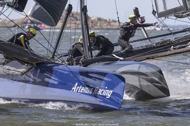 Close racing at America's Cup World Series Gothenburg. Photo ACEA 2015 / Gilles Martin-Raget.