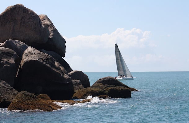 Bob Steel's Quest slips around Orchard Rocks on it's way to IRC race win on Day 2 of SeaLink Magnetic Island Race Week. Photo Tracey Johnstone