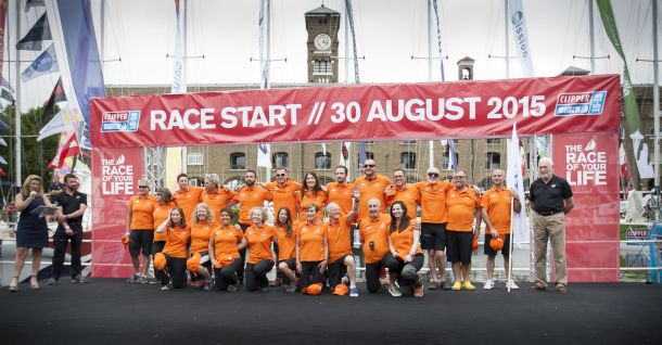 Wendy Tuck and her team ahead of the Clipper Race start. Photo Clipper Ventures.