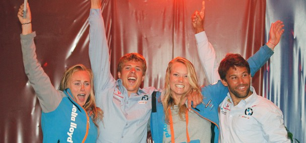 Happy winners atthe 49er and 49erFX Junior Worlds. Photo 49er Assn.