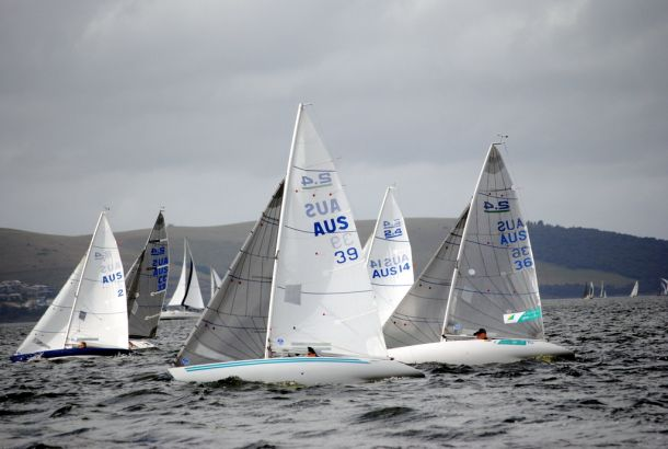 The local 2.4mR fleet competing on the Derwent including Tasmanian Paralympic representative Matt Bugg (sail # aus 36). Photo Peter Campbell.