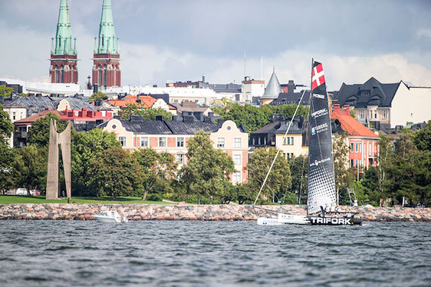 Trifork Racing from Denmark with the beautiful city of Helsinki in the background. Photo M32 Media.