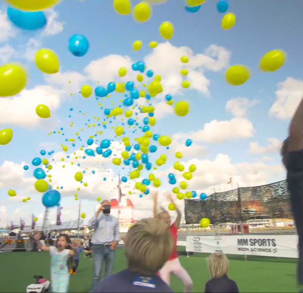 Screenshot from the video the AC posted showing the balloons being released. Photo Bernews