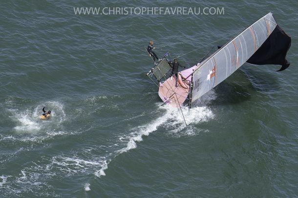 Man overboard! Action from the San Francisco 18ft Skiffs. Photo Erik Simonsen.