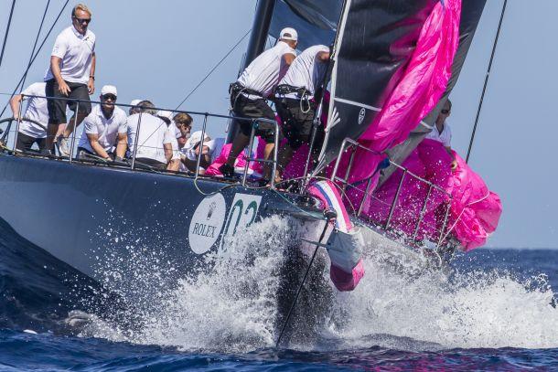 Mid-spinnaker drop on board Jethou. Photo ©: ROLEX / Carlo Borlenghi.