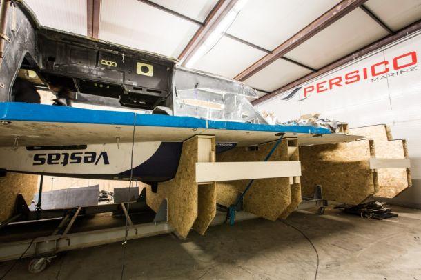 Parts of Vestas Wind at Persico. Photo Brian Carlin / Team Vestas Wind / Volvo Ocean Race.