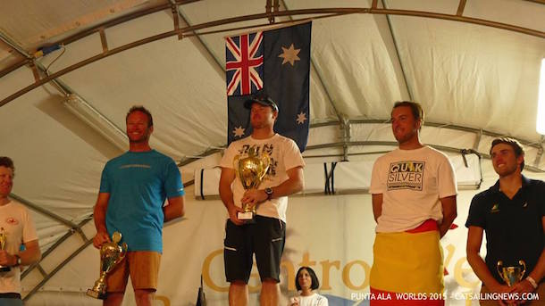 Glenn Ashby wins the A Class Cat Worlds. Photo Punta Ala Worlds 2015/ Cat Sailing News.