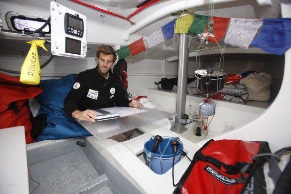 No luxuries and not much room below decks on a Mini. Photo © Jacques Vapillon / Mini Transat Îles de Guadeloupe 2015.