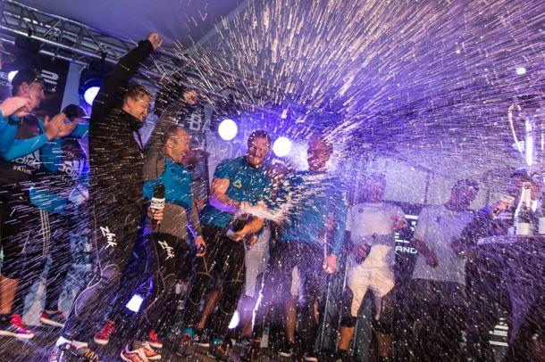 The crew of US ONE celebrates in Stockholm. Photo © Sander van der Borch.